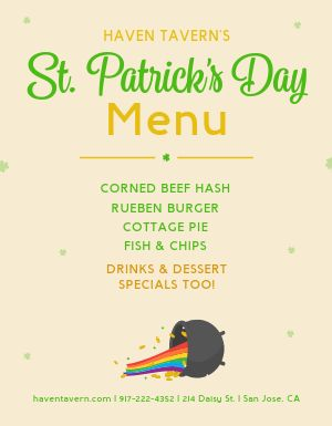 St Patricks Menu Flyer