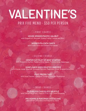 Fancy Valentines Day Menu