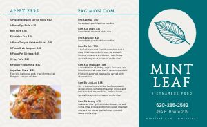 Simple Vietnamese Takeout Menu