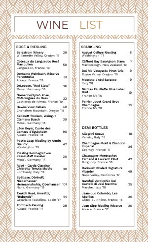 Leafy Wine List Menu