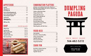 Chinese Dumpling Takeout Menu