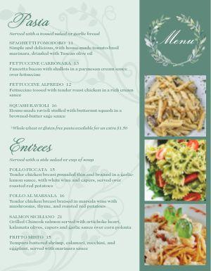 Ornate Italian Menu