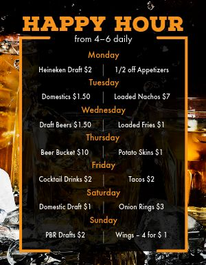 Happy Hour Schedule Flyer