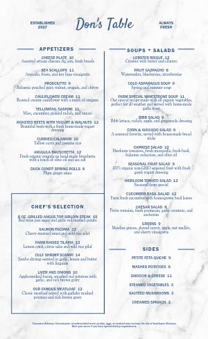 Marble Fine Dining Menu