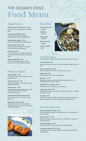 Fish Seafood Menu