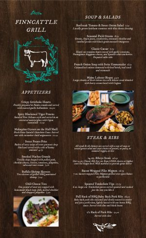 Wooden Steakhouse Menu