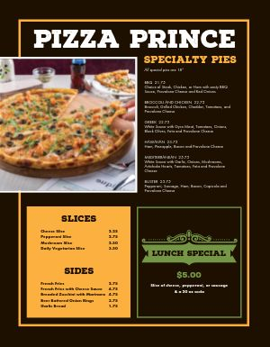 Pizza Lover Menu
