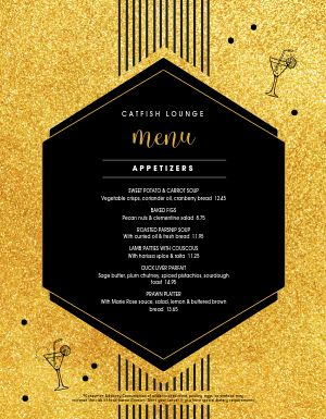 new years gold flake menu