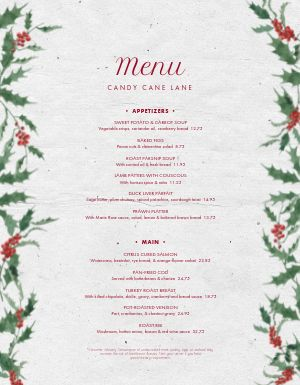 Christmas Ivy Menu