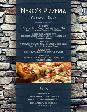 Castle Pizza Menu