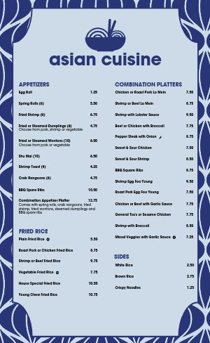 Bowl Chinese Menu