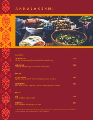 Indian Veggie Menu