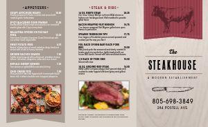 Modern Steak Takeout Menu