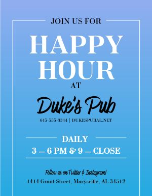 Pub Happy Hour Flyer