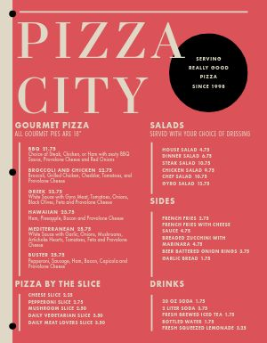 Pizza Eatery Menu