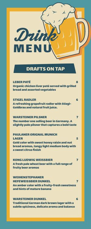 German Beer Half Page Menu