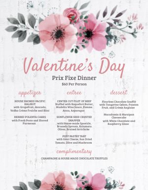 Wooden Valentines Day Menu