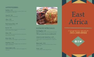East African Takeout Menu