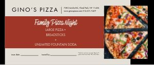 Family Pizza Gift Certificate