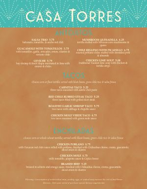 Fancy Mexican Menu