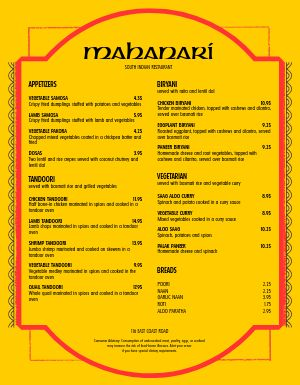 Indian Food Restaurant Menu