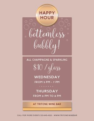 Champagne Happy Hour Flyer
