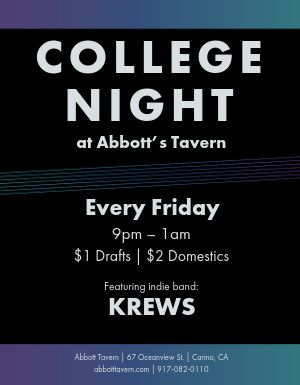 College Night Bar Flyer