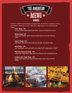 American Barbeque Burger Menu