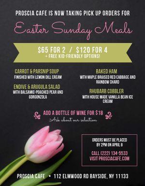Easter Meals Menu