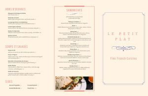 Cream French Folded Menu
