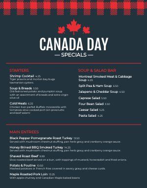 Canada Day Menu