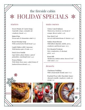 Basic Christmas Specials Menu