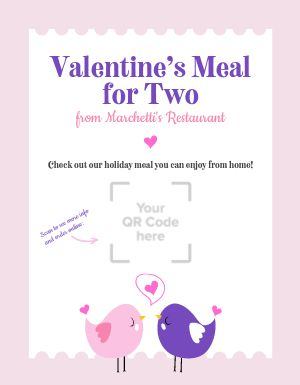 Valentines Day Couples Meal Flyer