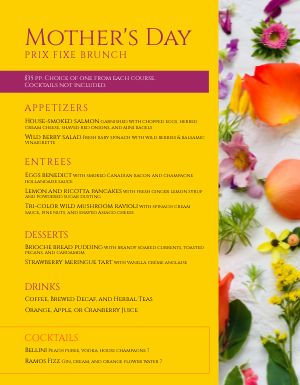 Mothers Day Prix Fixe Menu