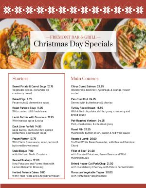 Christmas Day Specials Menu