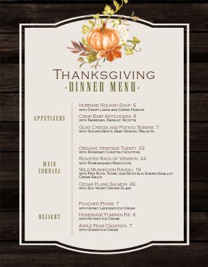 Framed Thanksgiving Menu