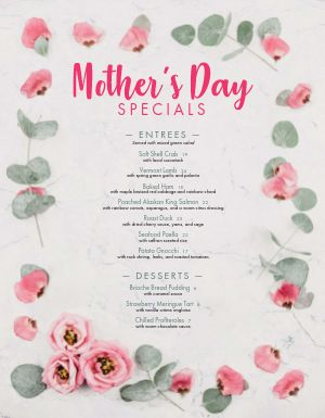 Example Mothers Day Menu