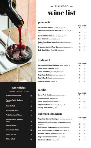 Beautiful Wine List Menu
