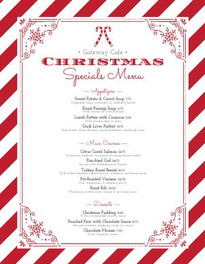 Candy Cane Christmas Menu