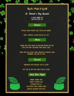 St Patricks Day Clover Menu