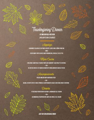 Colorful Thanksgiving Menu