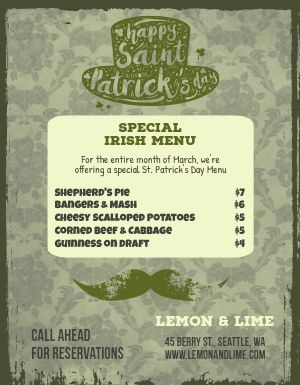 St Patricks Day Special Menu Flyer