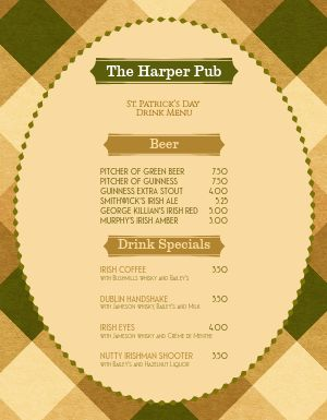 St Patricks Day Plaid Menu