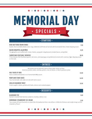 Simple Memorial Day Menu