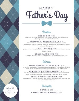 Fathers Day Holiday Menu