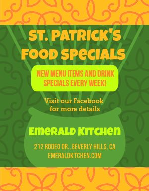 St Patricks Food Flyer
