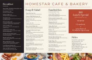 Bakery Placemat Menu
