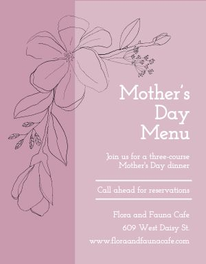 Mothers Day Prix Fixe Flyer