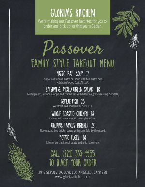 Passover Takeout Menu