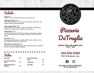 Red Hot Pizza Bifold Takeout Menu